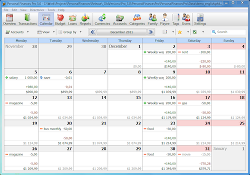 Alzex Personal Finance beta version screenshot