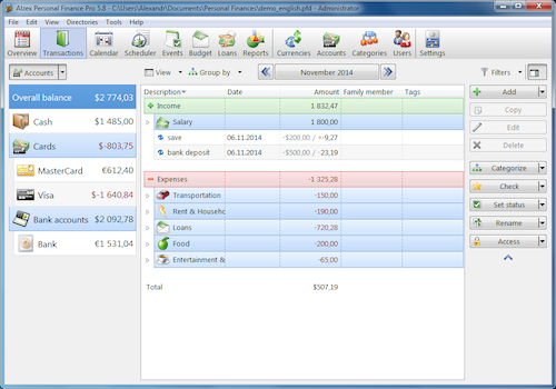 Alzex Personal Finance v5.11 released