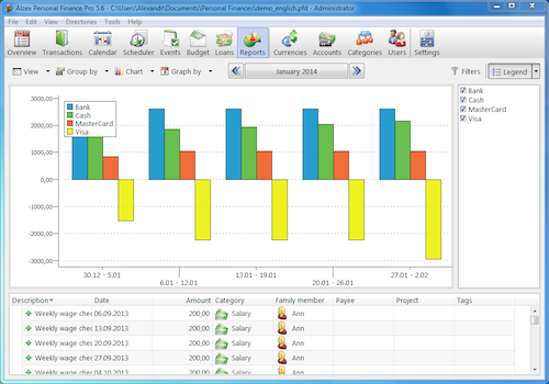 Alzex Personal Finance software screenshot